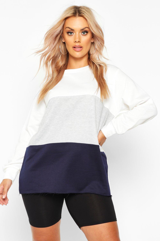 Womens Plus Sweatoberteil mit Colorblock - marineblau - 44, Marineblau - Boohoo.com