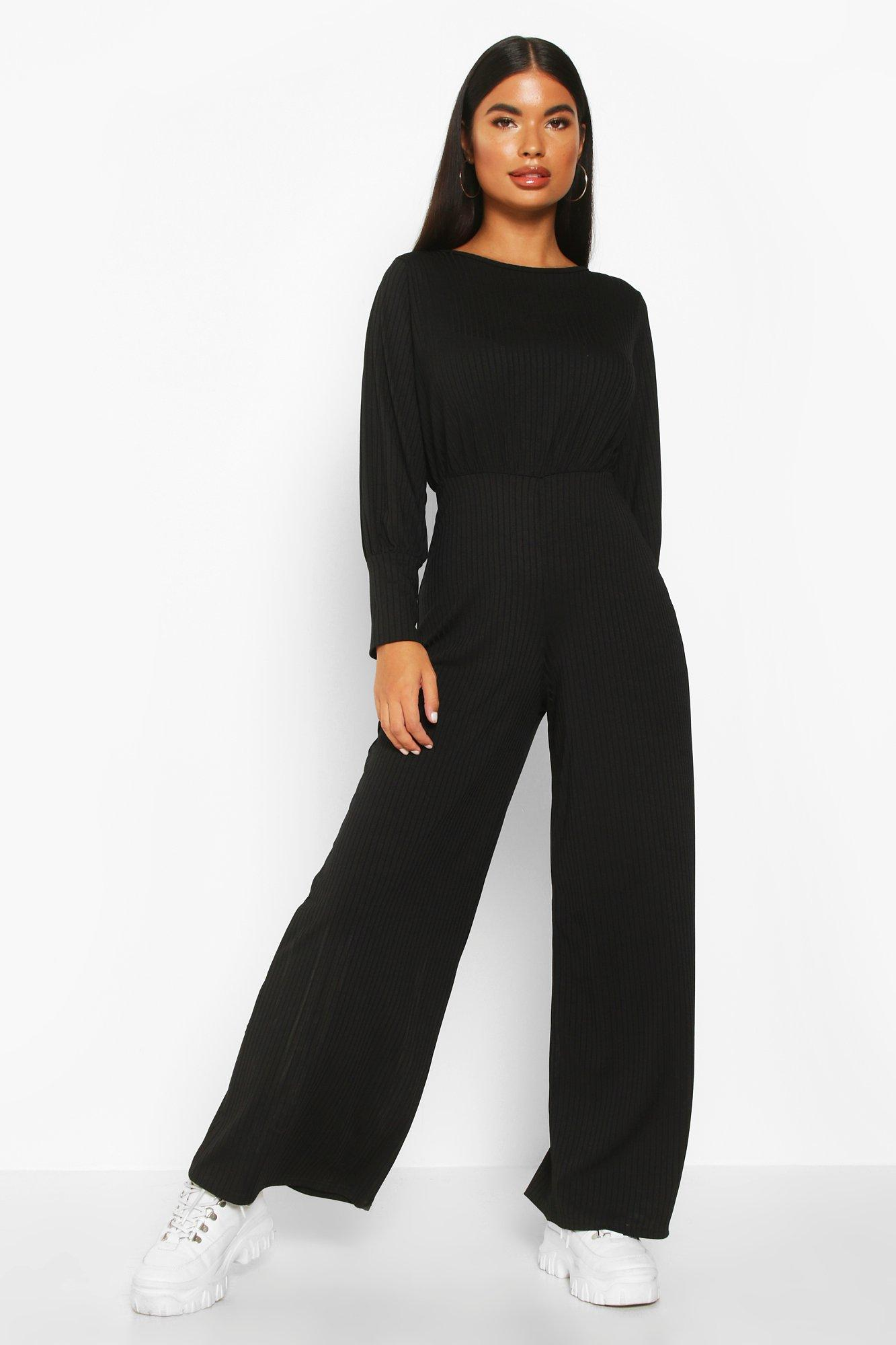 boohoo Womens Petite Ribbed Wide Leg Jumpsuit - Black - 6, Black