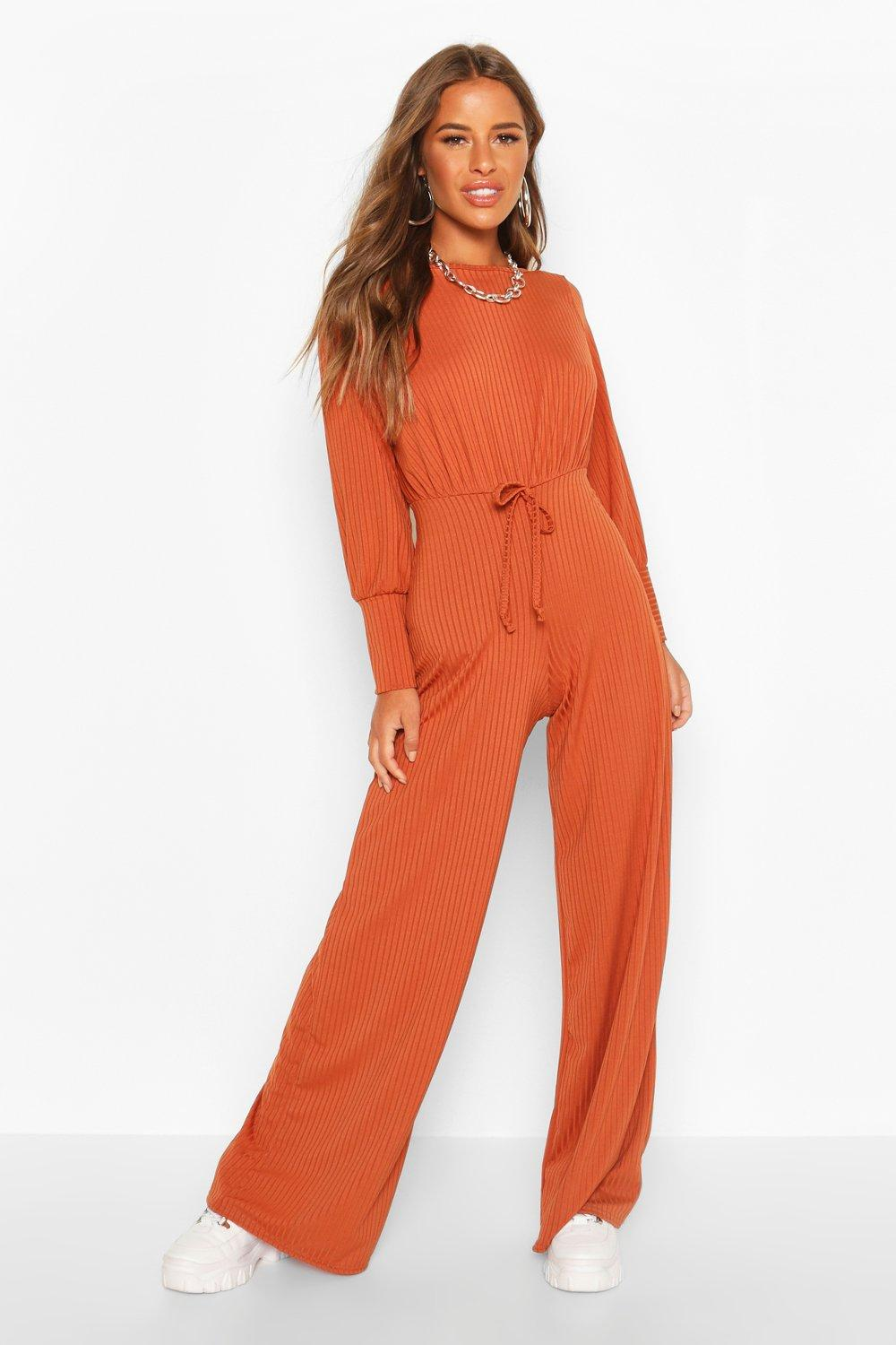 boohoo Womens Petite Ribbed Wide Leg Jumpsuit - Orange - 10, Orange
