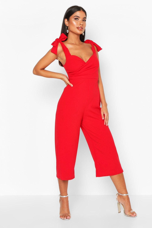 boohoo Womens Petite Tie Detail Culotte Jumpsuit - Red - 10, Red