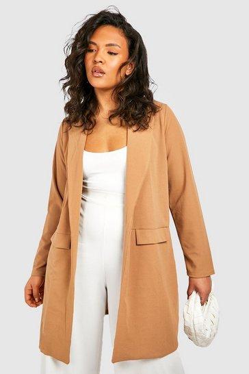 Camel Plus Pocket Detail Boyfriend Blazer