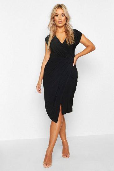 Black Plus Wrap Front Midi Dress