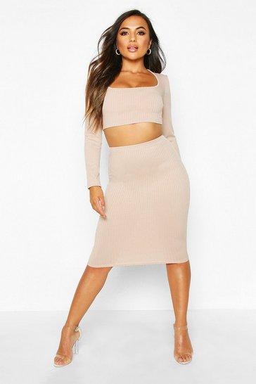 Stone Petite Jumbo Rib Midi Skirt