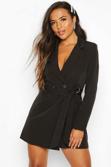 Black Petite Tailored D-Ring Belted Blazer Dress