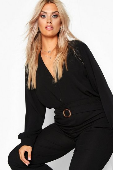 Black Plus Woven Button Through Collarless Shirt