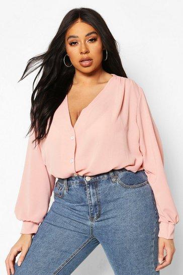 Blush Plus Woven Button Through Collarless Shirt