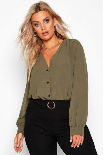 Khaki Plus Woven Button Through Collarless Shirt