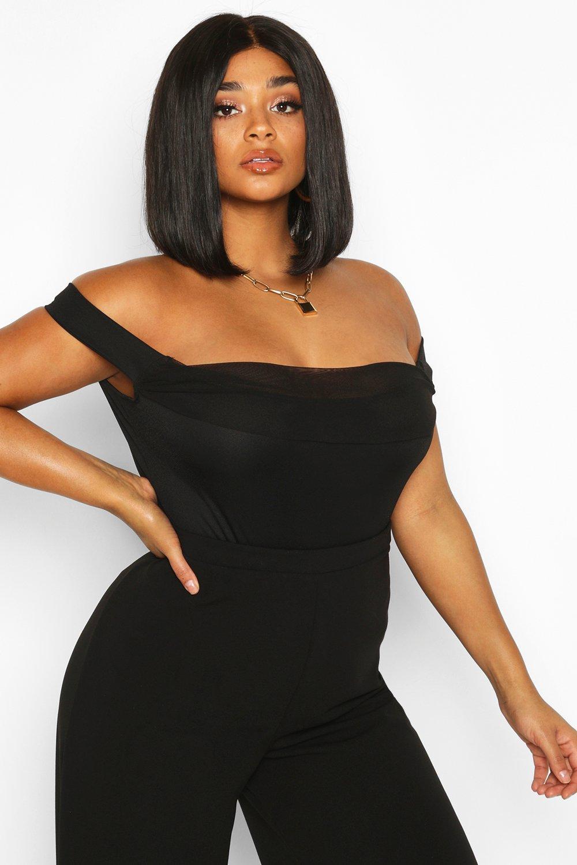 Womens Plus Body aus Netzstoff mit Bardot-Ausschnitt - schwarz - 42, Schwarz - Boohoo.com