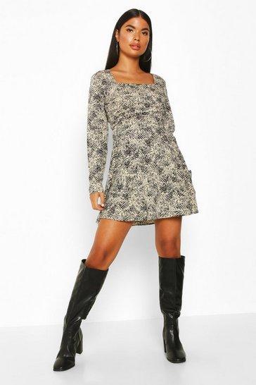 Stone Petite Woven Animal Print Square Neck Shift Dress