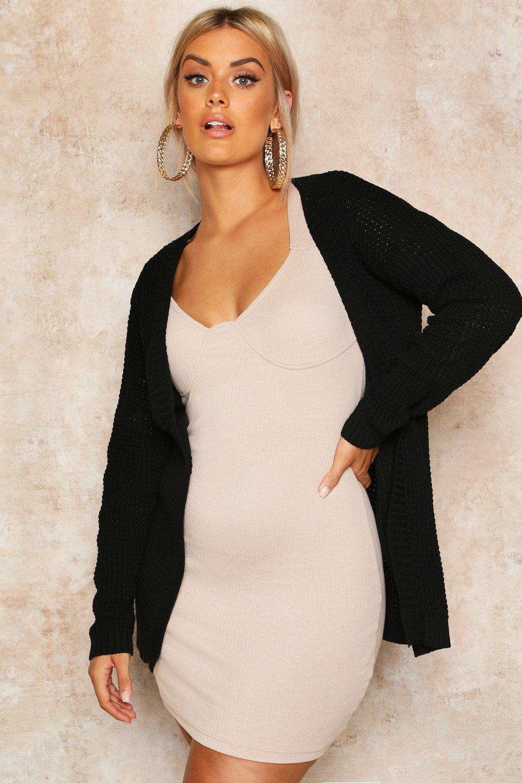 Womens Plus Gerade geschnittene Cardigan aus Strick mit Waffelmuster - schwarz - 44, Schwarz - Boohoo.com