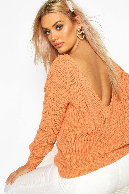 Womens Plus Oversize Pullover mit V-Ausschnitt hinten - Aprikose - 42, Aprikose - Boohoo.com