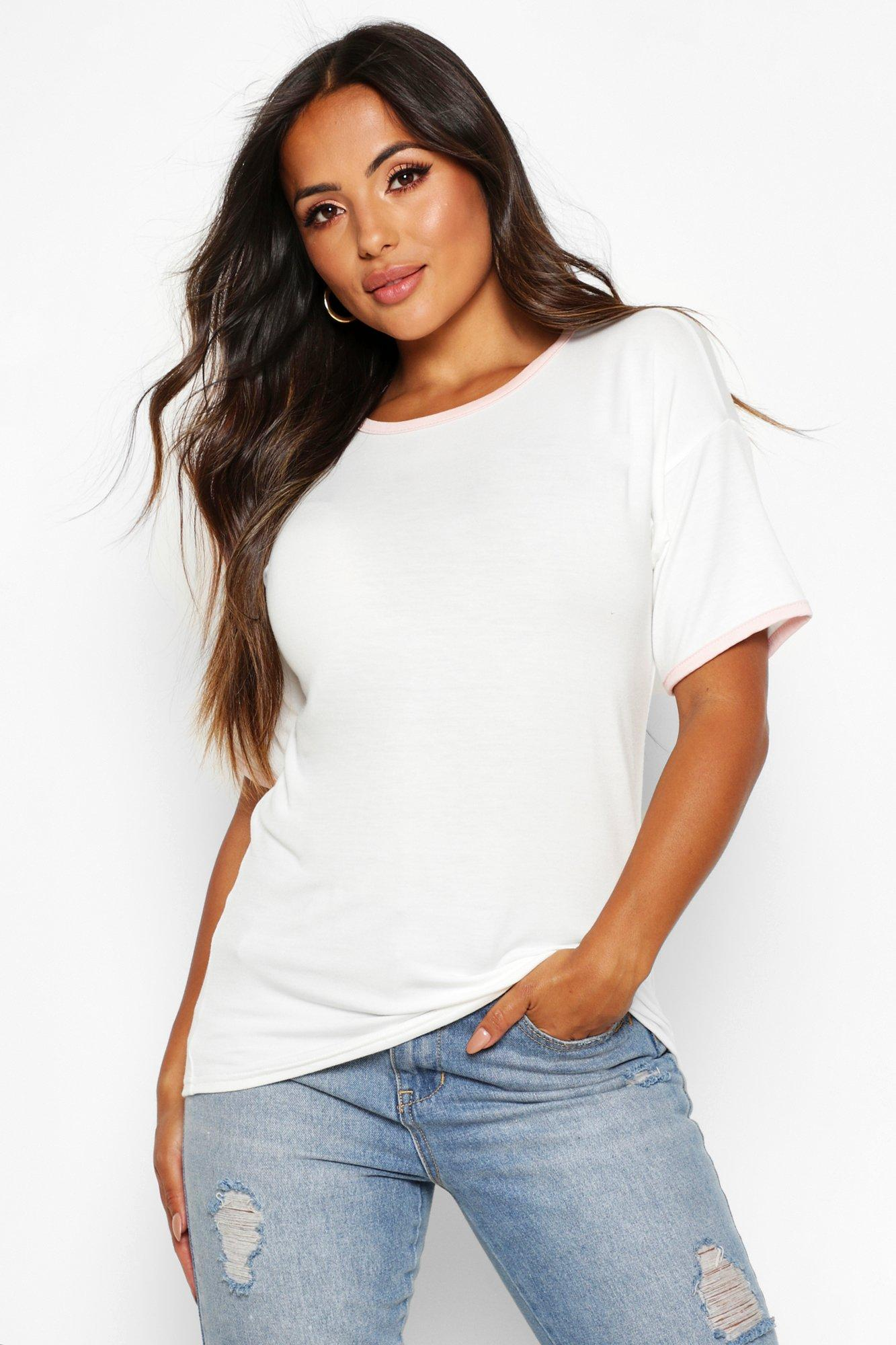 Womens Petite T-Shirt mit farblich abgestimmtem Ringerrücken - Naturfarben - 32, Naturfarben - Boohoo.com