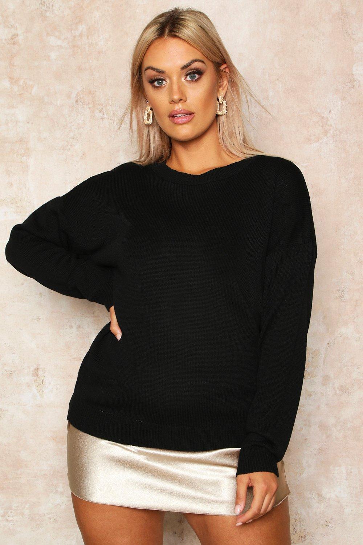 Womens Plus Boxy Pullover mit Rundhalsausschnitt - schwarz - 44-46, Schwarz - Boohoo.com