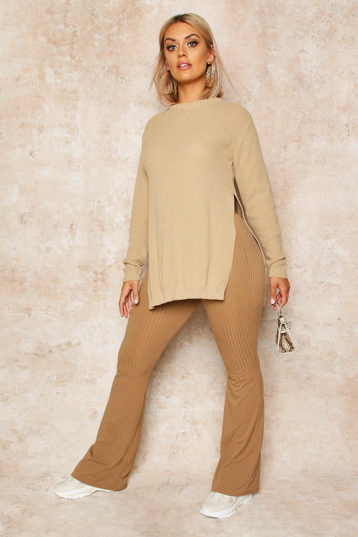 Womens Plus Tunika-Pullover mit Perlmuster und Seitenschlitz - steingrau - 42, Steingrau - Boohoo.com
