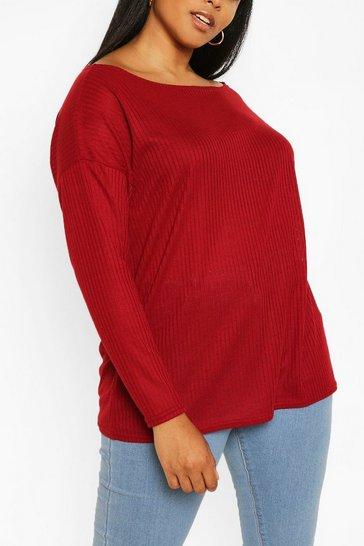 Wine Plus Oversized Rib Long Sleeve T-Shirt