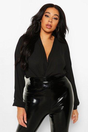 Black Plus Draped Long Sleeve Blouse