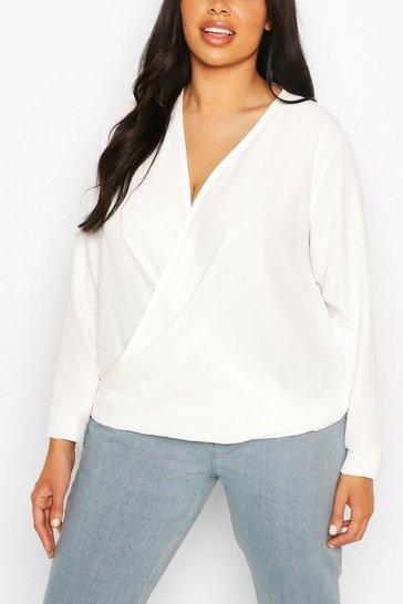 Ivory Plus Draped Long Sleeve Blouse