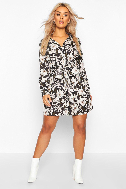Womens Plus Blusenkleid mit Schnürband und Blumen-Print - schwarz - 42, Schwarz - Boohoo.com