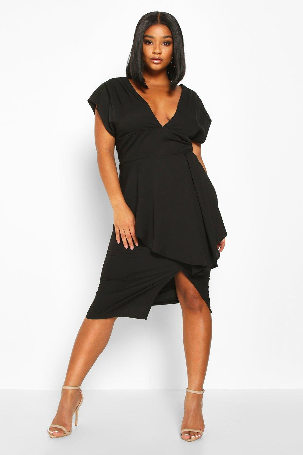 boohoo Womens Plus Plunge Ruffle Detail Midi Dress - Black - 22, Black