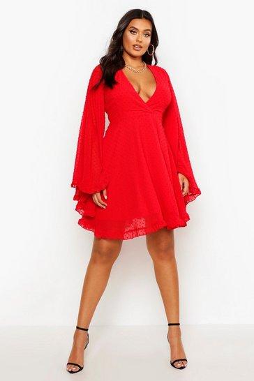 Red Plus Dobby Chiffon Wide Sleeve Skater Dress