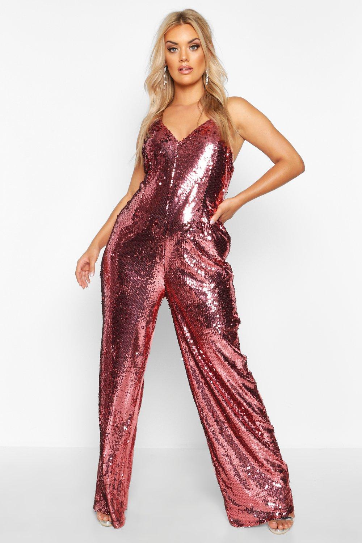 Don't Miss Out Plus Sequin Strappy Wide Leg Jumpsuit