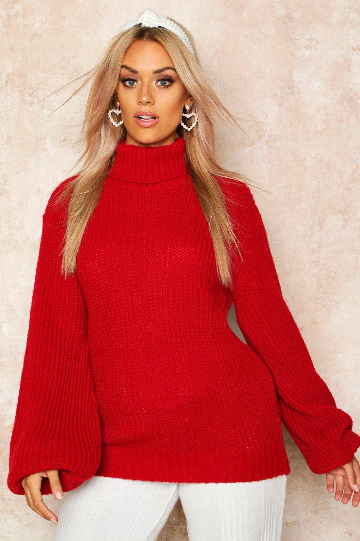 Womens Plus Pullover mit Rollkragen und Ballonärmeln - rot - 50, Rot - Boohoo.com