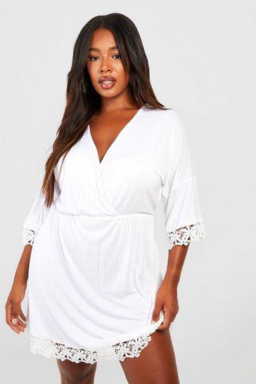 White Plus Crochet Lace Trim Beach Dress