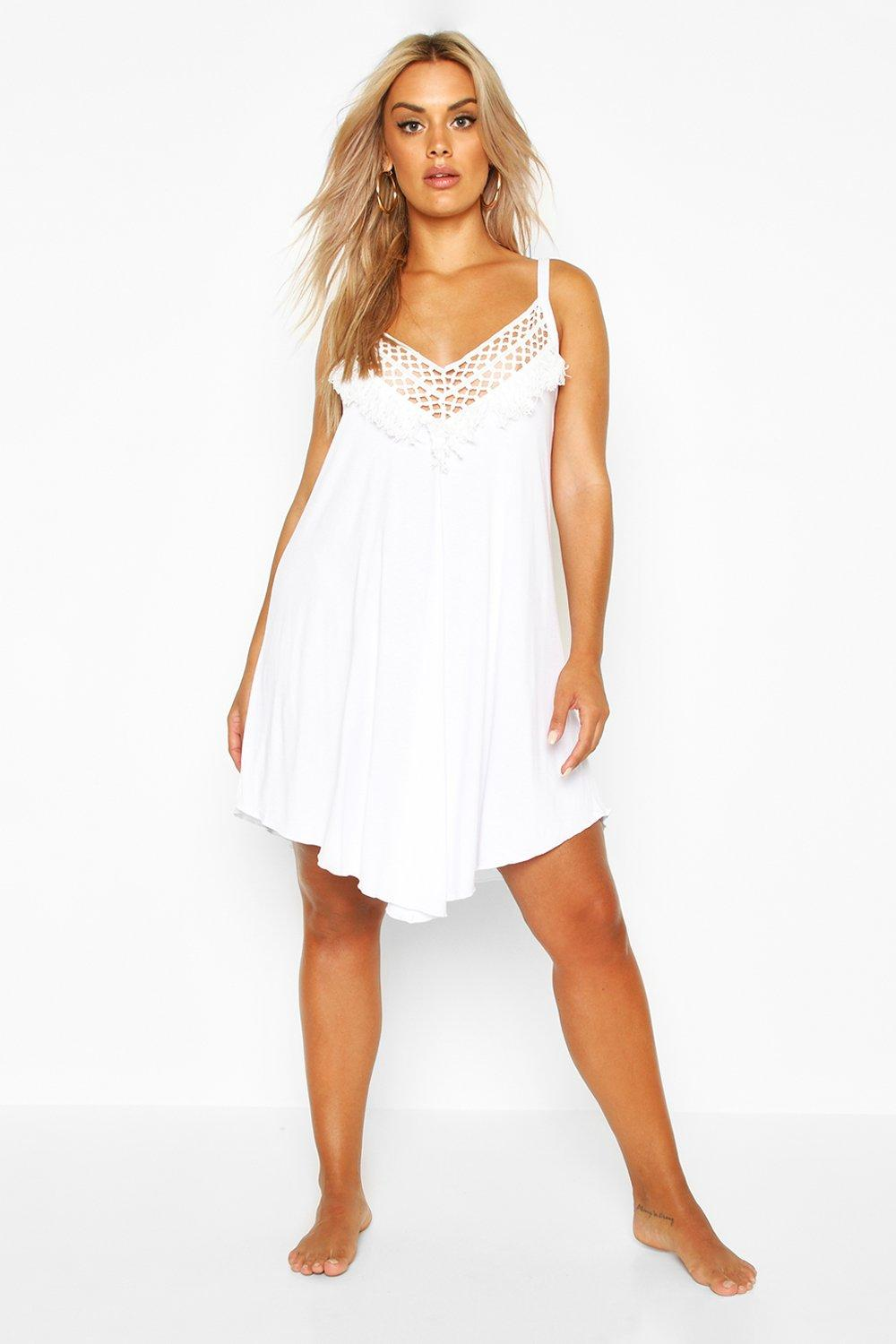boohoo Womens Plus Crochet Detail Beach Dress - White - 18, White