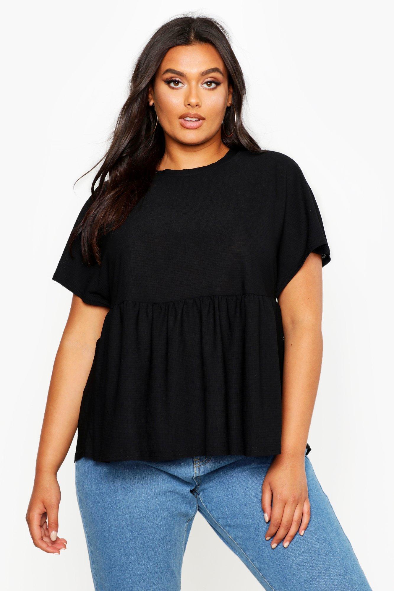 Womens Plus-Size Basic Schößchen T-Shirt - schwarz - 42, Schwarz - Boohoo.com