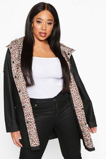Black Plus Leopard Lined Rain Mac