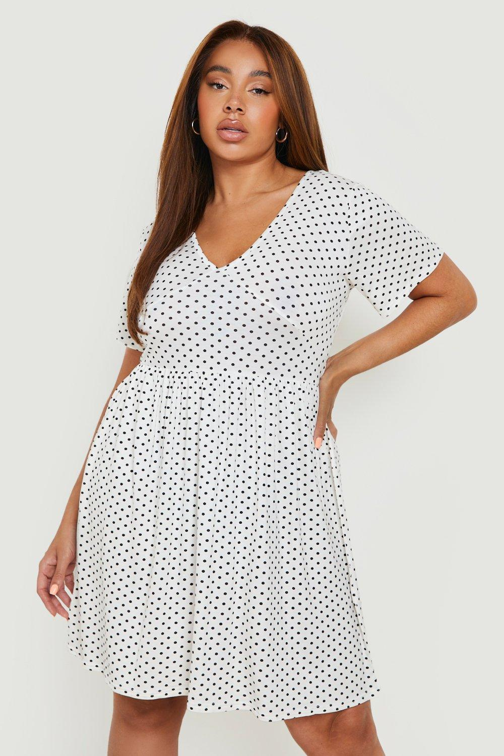 boohoo Womens Plus Plunge Polka Dot Cap Sleeve Sundress - White - 20, White