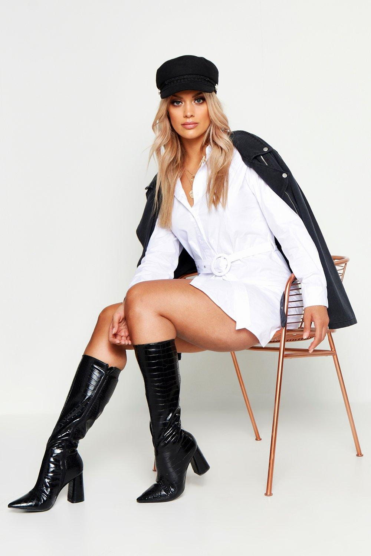 Womens Plus Blusenkleid aus Webstoff mit Gürtel - Weiß - 44, Weiß - Boohoo.com