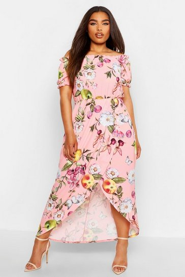 Rose Plus Floral Off Shoulder Maxi Dress