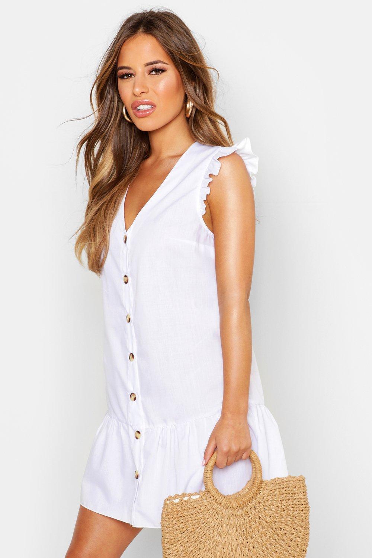 50-80% off Petite Woven Button Through Frill Smock Dress