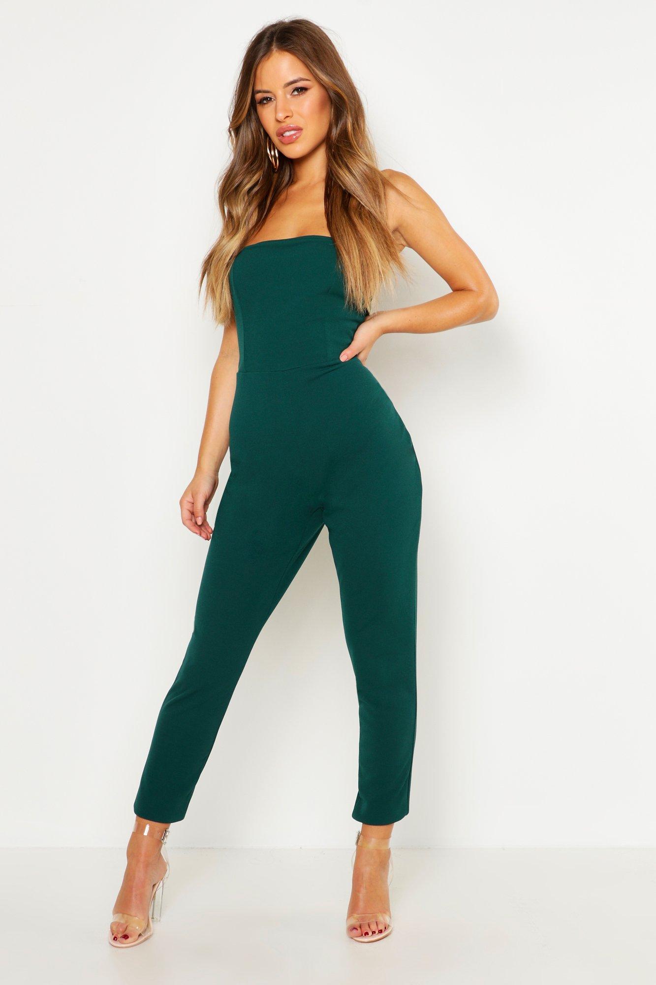 boohoo Womens Petite Bandeau Straight Leg Jumpsuit - Green - 12, Green