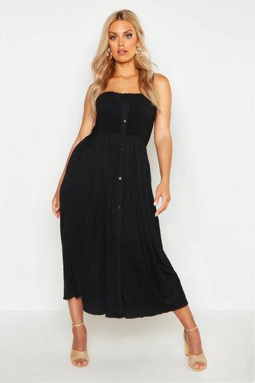 Black Plus Button Detail Shirred Midi Dress