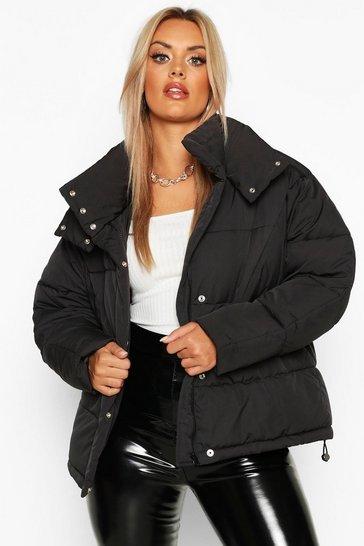 Black Plus Funnel Neck Puffer Jacket