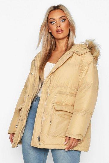 Camel Plus Faux Fur Hooded Drawstring Puffer Parka Coat