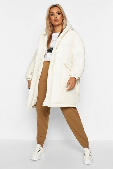 White Plus Shawl Collar Belted Mid Length Puffer Coat