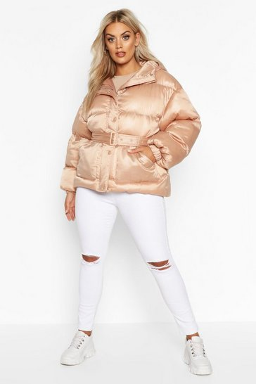 Nude Plus Satin Look Belted Funnel Neck Puffer Jacket