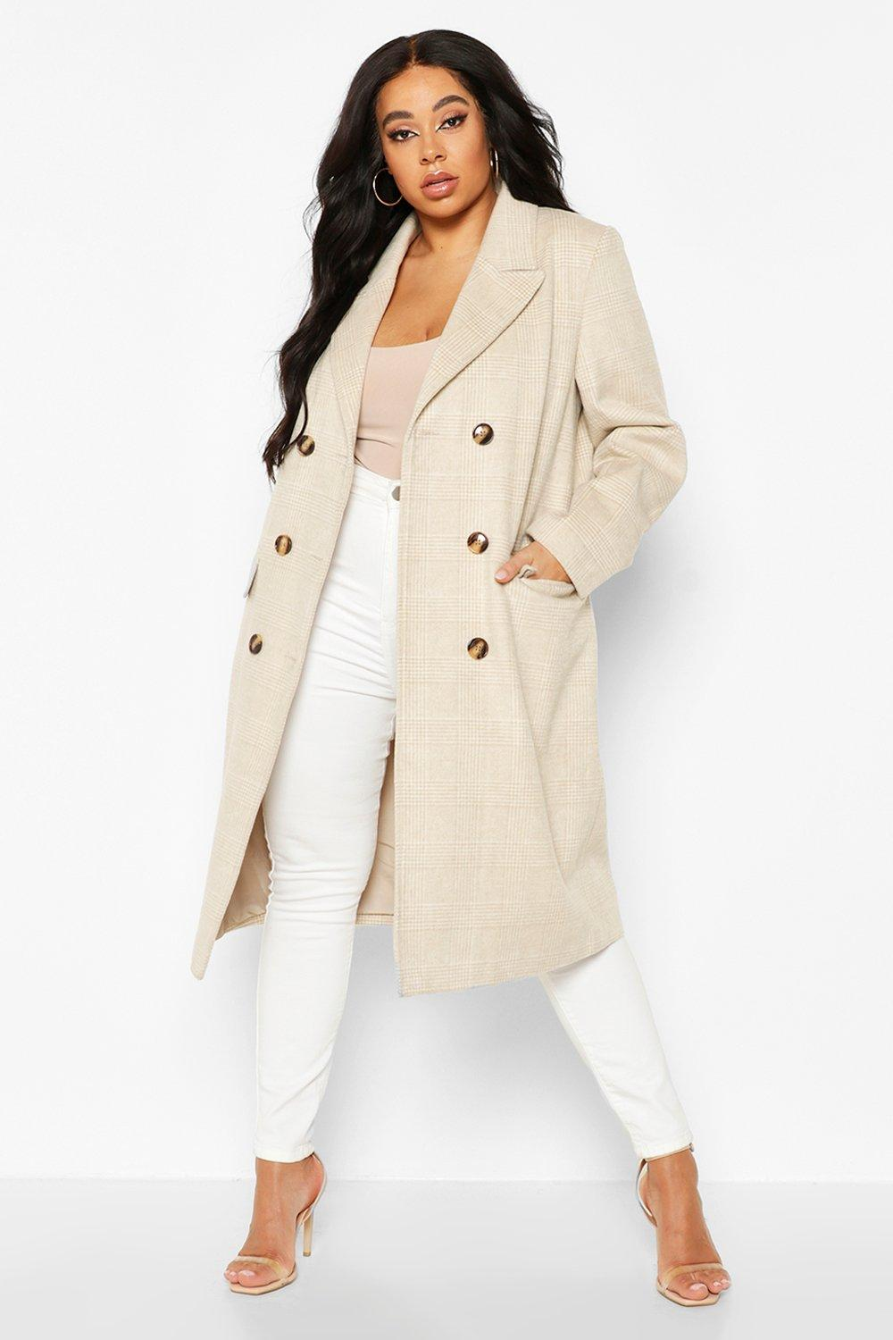 boohoo Womens Plus Tonal Check Double Breasted Boyfriend Coat - Beige - 18, Beige