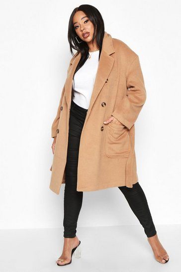Camel Plus Wool Look Belted Button Detail Trench Coat