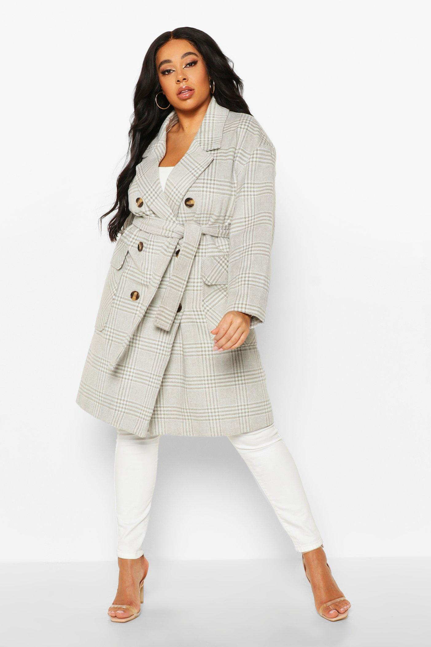 boohoo Womens Plus Tonal Check Belted Button Trench Coat - Grey - 22, Grey