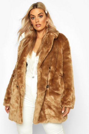 Plus Luxe Double Breasted Faux Fur Coat