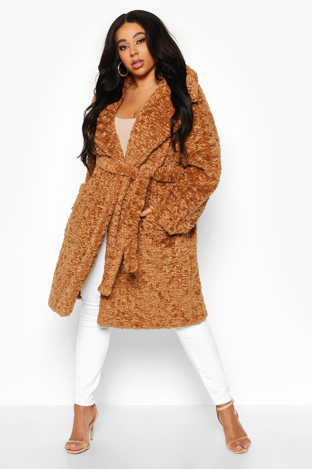 boohoo Womens Plus Teddy Faux Fur Belted Mid Length Coat - Beige - 16, Beige