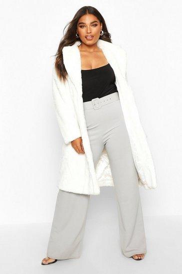White Plus Supersoft Faux Fur Midi Length Coat