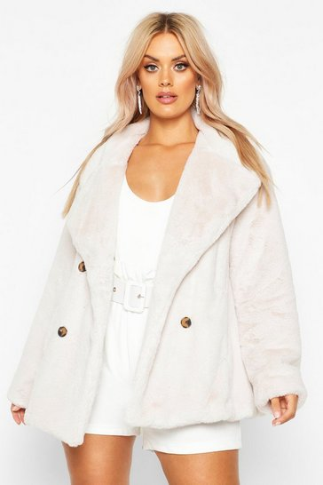 Cream Plus Supersoft Faux Fur Double Breasted Coat