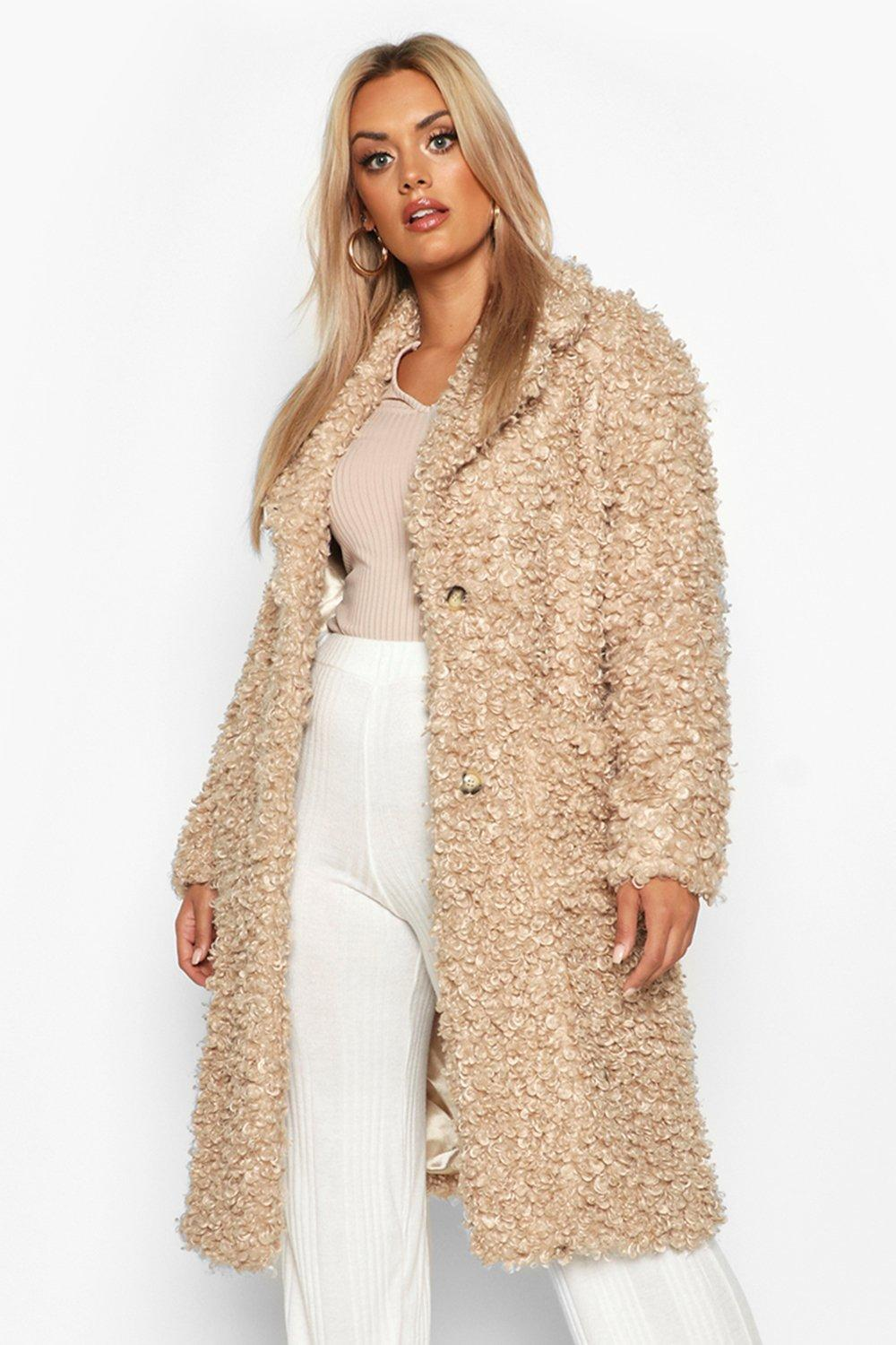boohoo Womens Plus Teddy Faux Fur Longline Coat - Beige - 18, Beige