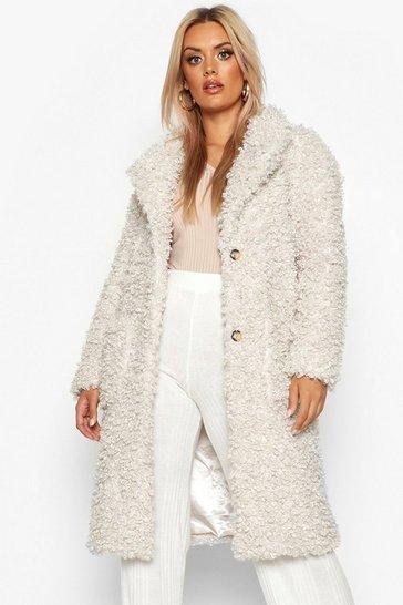 Cream Plus Teddy Faux Fur Longline Coat