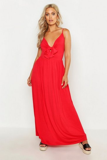 Red Plus Strappy Knot Front Maxi Dress